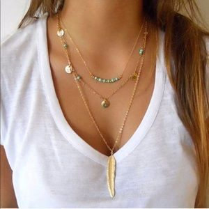 🌟 BACK 🌟 3-Layer Feather Necklace in Gold Tone